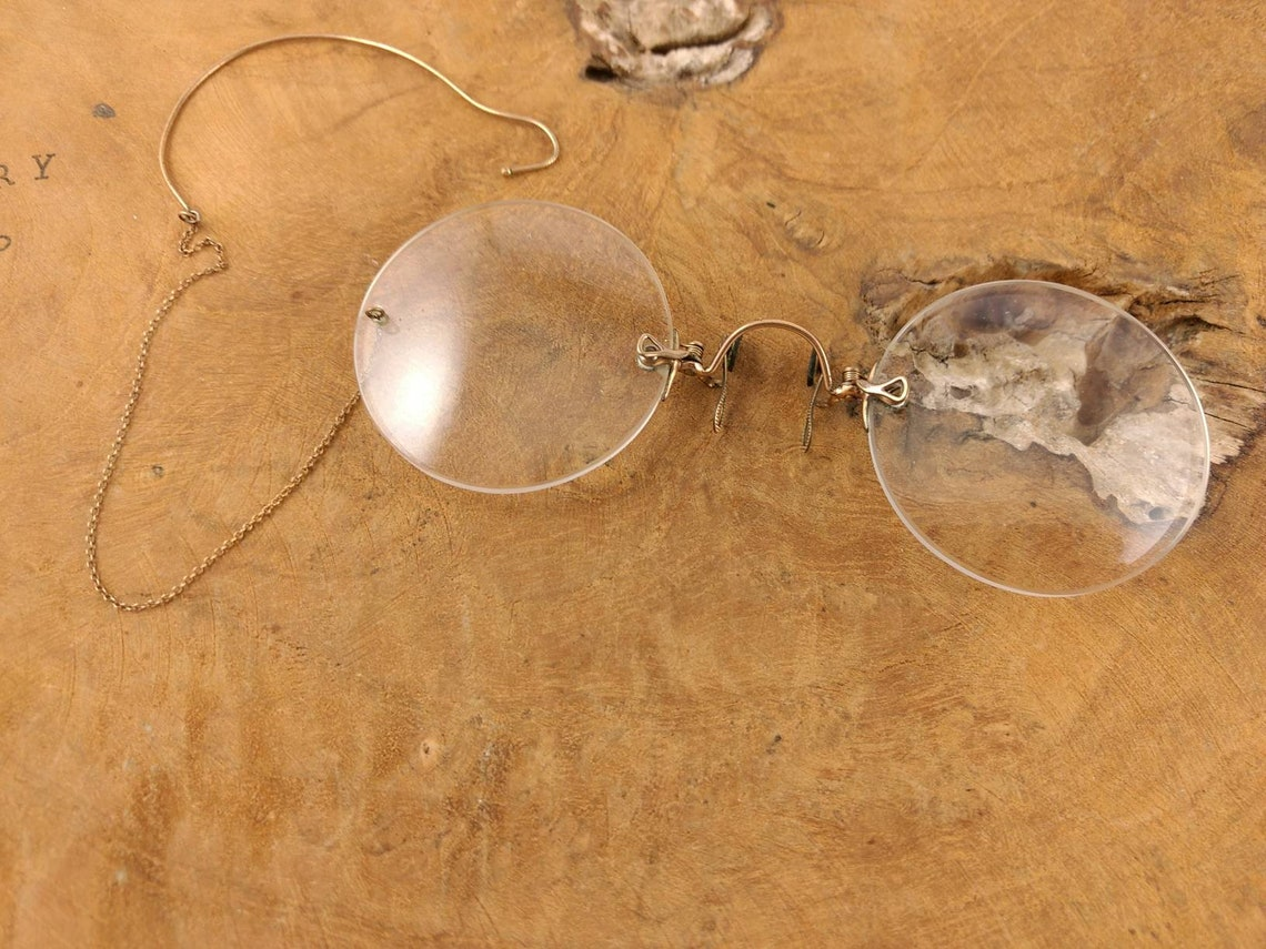 Antique Glasses With Case - 1900 - Nose Pincher - Spectacles - Vintage Collectible - Eyewear