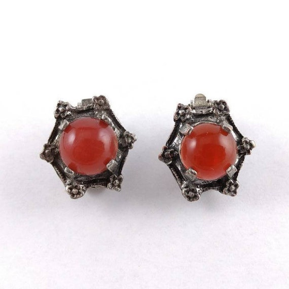 Antique Clip on Earrings - Red Cabochons - Silvert