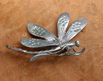 Dragonfly Art Nouveau Brooch - Vintage Jewelry  - Water Insect