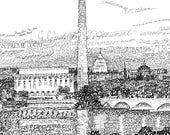 Washington D.C. Skyline Word Art - FREE Shipping - 16 quot x20 quot - Washington D.C. Art - Washington dc print - Washington dc skyline