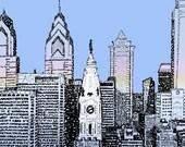 Philadelphia Skyline Word Art - FREE Shipping - 16 quot x20 quot - Philadelphia Skyline - Philadelphia Art - Philadelphia Gift - Philly - Dorm Decor