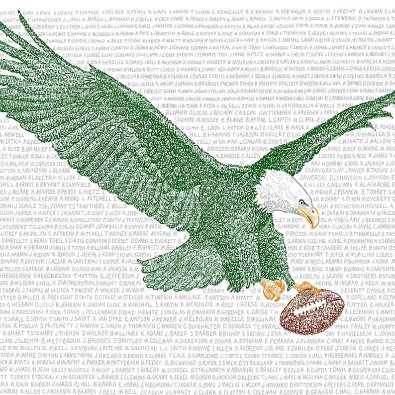 Philadelphia Eagles All Time Roster Word Art Print  bc462334d