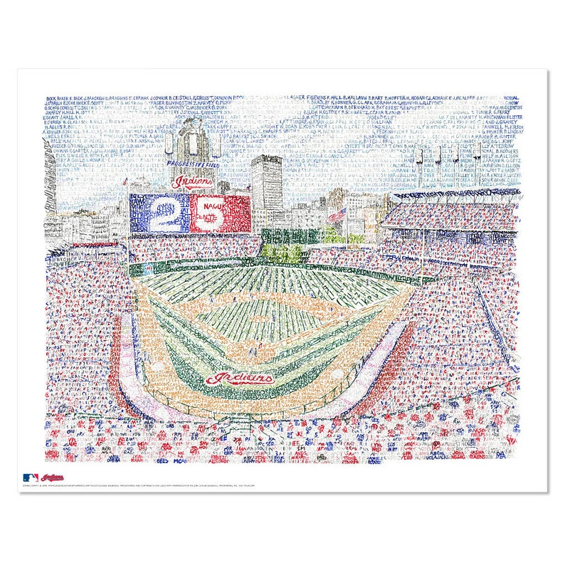 45a4b009 Cleveland Indians Progressive Field Word Art - Handwritten with the names  of every player in team history – Cleveland Indians Gifts & Decor
