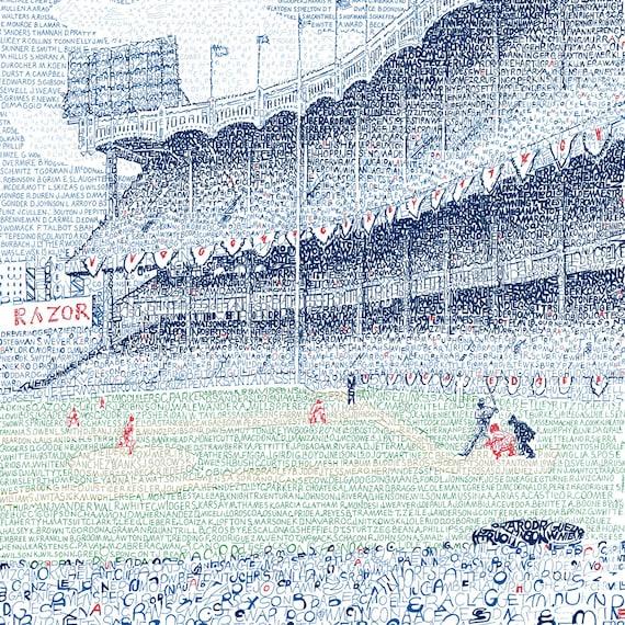 New York Yankees Yankee Stadium Word Art Print EVERY | Etsy