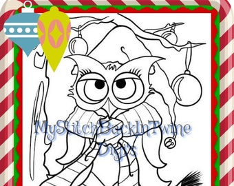 Digital stamp colouring image - Xmas Owl Colouring Image. jpeg / png