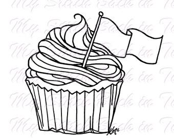De afbeelding van de kleuren van de digitale stempel - cupcake. JPEG / png