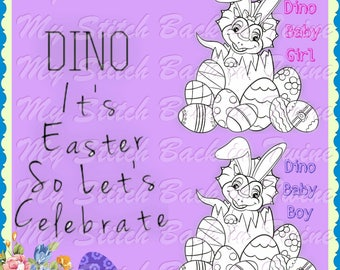 Digitale stempel kleuren afbeelding - Dino Easter Bunny jongen/meisje van de Baby. JPEG / png