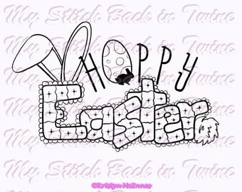 Digitale stempel Inkleuren image - Hoppy Easter 4 versies. PNG