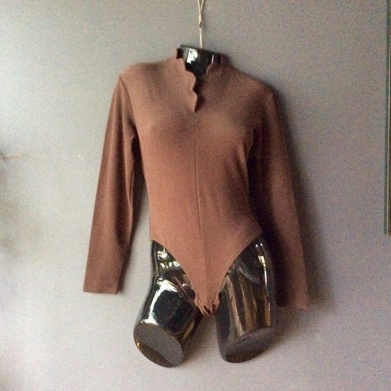 Bodysuit Long Sleeve and Stand Up Collar, 90's Leo