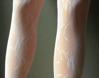 Real French Lace Pantyhose, Cut and Sewn from Real french Lace,Tights withSeams,Vintage Italian Tights,Tulle and Lace, Ecru Lace.Lace Bridal