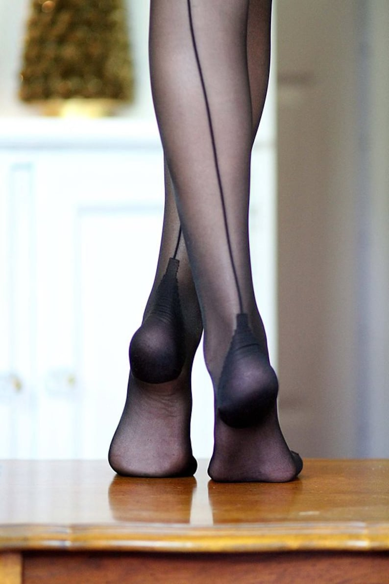 f27f21acd1a Sexy Cuban Heel Seamed Tights Vintage Retro Pantyhose with