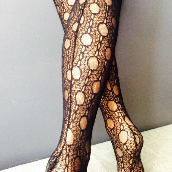 size medium Beautiful black lace tights with seam