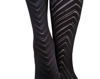 Italian opaque  tights, New in the package Chevron Design Joanna Trojer Texture Fishbone Winter Tights Luxurious Hosiery Designer Pantyhose