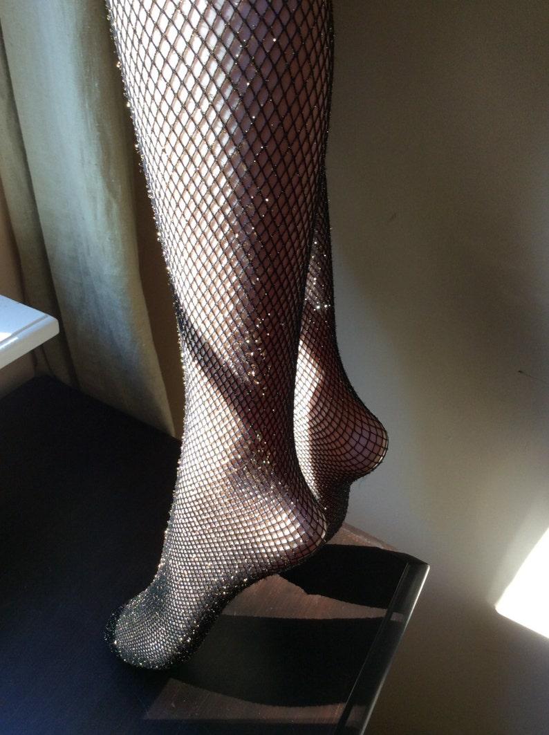 Glitter Fishnet Lurex Pantyhose Fishnet Tights Black Silver Lurex  Cotton Crotch Ballroom Dance  Tights  Italian Fishnet Tights
