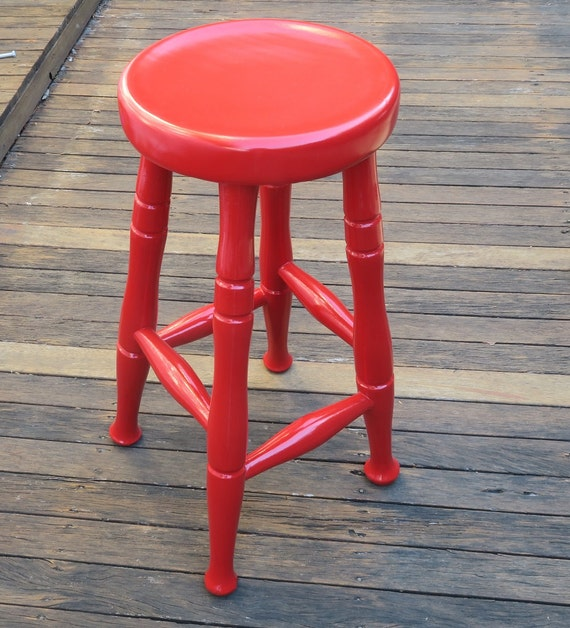 Fantastic Little Red Stool Handpainted Wooden Stool With Gloss Varnish For Pick Up Only Pabps2019 Chair Design Images Pabps2019Com