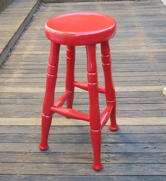 Awe Inspiring Little Red Stool Handpainted Wooden Stool With Gloss Varnish For Pick Up Only Pabps2019 Chair Design Images Pabps2019Com