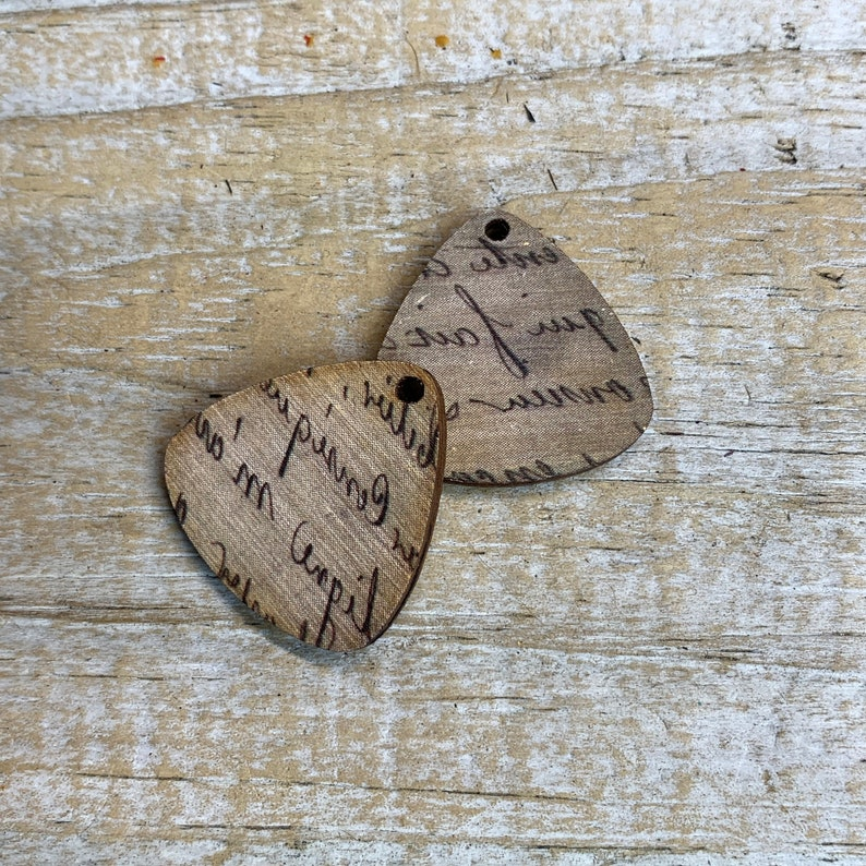 18 thick DS-OOAK #1122 1 RTS 1 Pair of Artisan Hand Print impressioned wood Charms