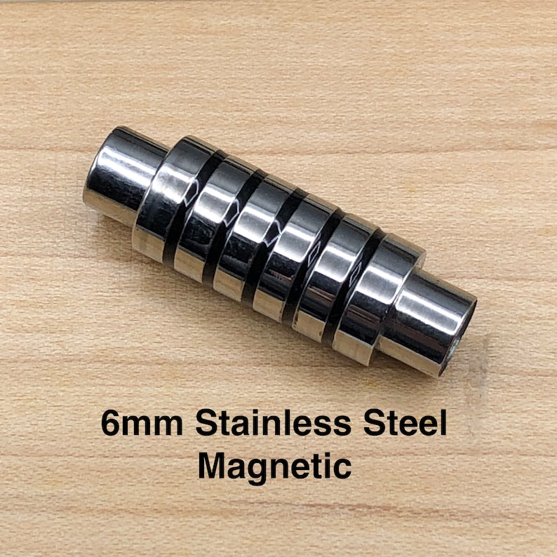 glue in 6mm hole CL B025 6mm Stainless Steel Ribbed Magnetic Clasp very strong magnet