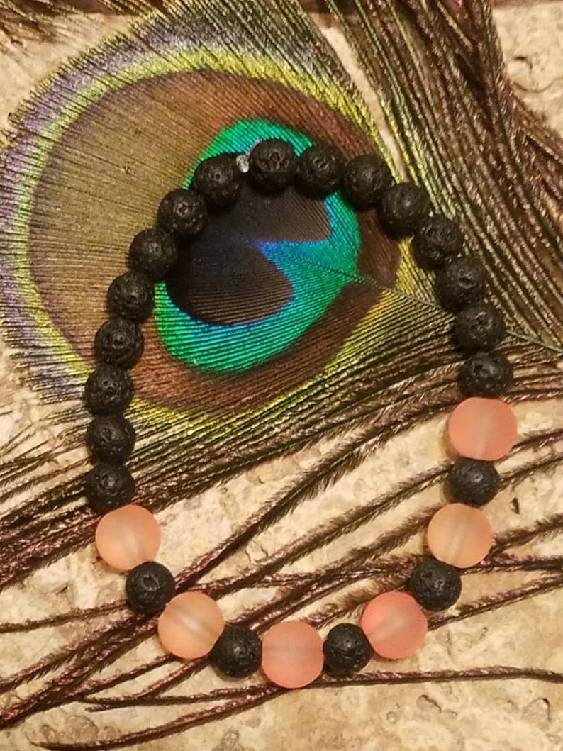 Frosty Orange Bead /& Black Lava Stone Bracelet  for essential oils One Of A Kind!