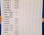 100 Yardzee Score Sheets - 4 pads of 25 - 5.5 quot x 8.5 quot