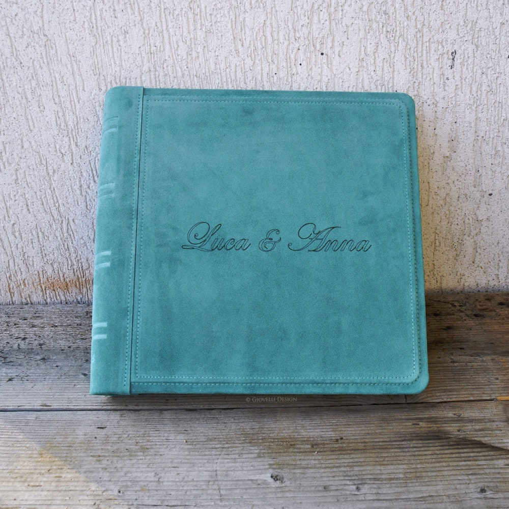Turquoise Suede Leather Scrapbook Album Personalized With Names