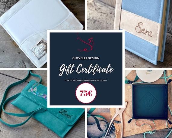 gift certificate gift card 75 euros voucher last minute etsy