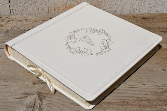 Personalized Genuine Leather Scrapbook Album With A Beautiful Wreath Very Light Cream White Wedding Leather Bound Book