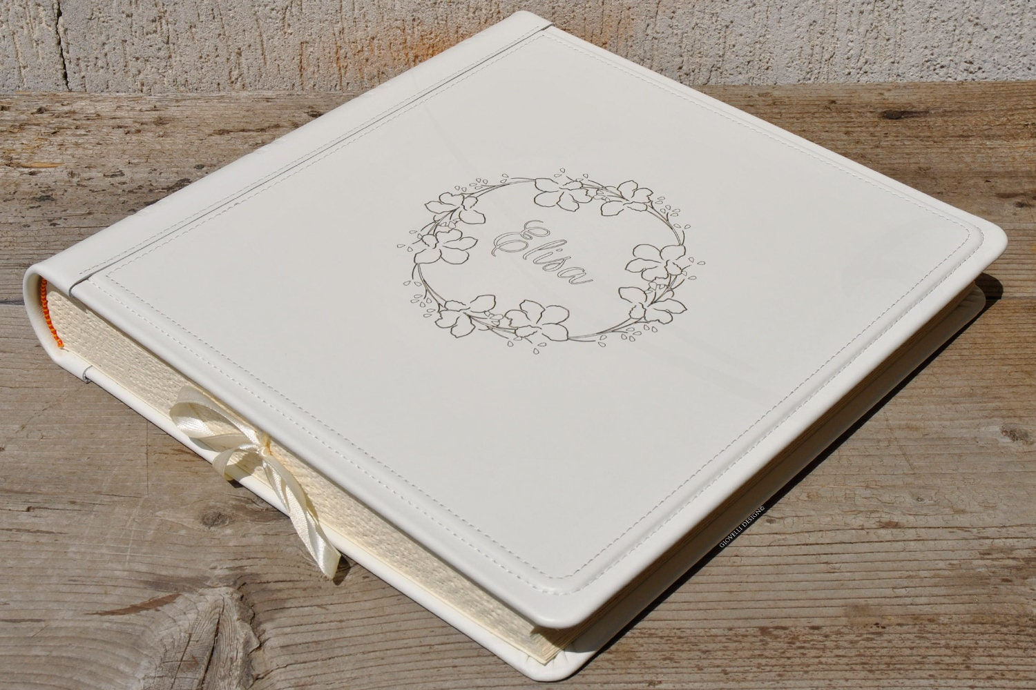 Personalized Genuine Leather Scrapbook Album With A