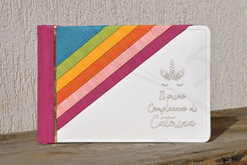 First Birthday horizontal italian bound scrapbook album Made in Italy Personalized Unicorn photo album with a colorful handcrafted Rainbow