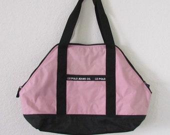 Vintage Ralph Lauren Polo Jeans Pink Nylon Tote Bag US Flag Logo d1e4063e1d247