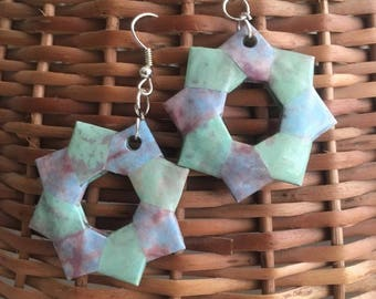 Green Origami Earrings