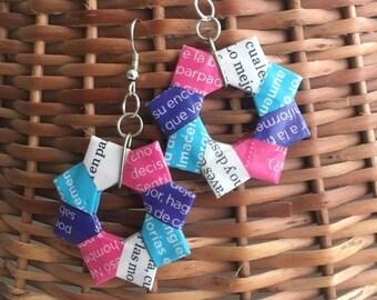 Magazine Paper Origami Earrings