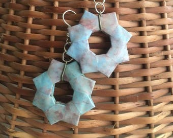 Light blue and green Origami Earrings