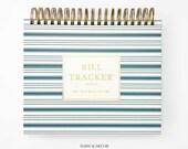 Hardcover Bill Tracker Journal, 2020 Bill Planner, Budget book, bill organizer, Undated Planner, 12 pockets tabs, stickers Valentines gift