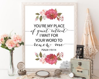 Psalm 119:114 Bible verse printable Verse scripture print You are my shield typography poster christian quote poster calligraphy wall verse