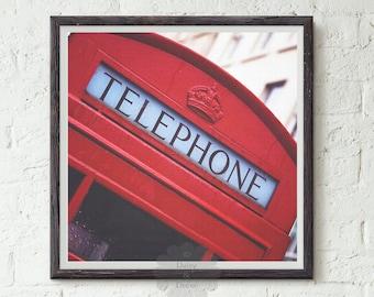 Red Telephone art printable - Red print, Telephone Print, Wall Art, Printable Art, Modern art, Urban Art, Minimal Art Print, Minimalist Art