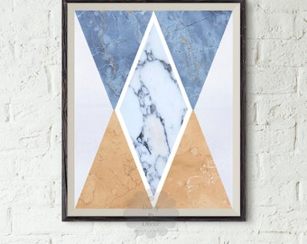Geometric art printable - Abstract Art, Modern Art Print, Blue Art, Triangle Art, Marble Print, White Marble, Modern Print, Digital Download