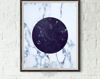 Geometric art printable - Abstract Art, Modern Art Print, Geometric Decor, White Art, Blue Art, Circle Art, Marble Art Print, Minimal Art