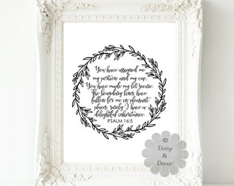 Psalm 16 5 Bible verse Scripture typography print Christian quote, inspirational quote, wall decor, office art print, art