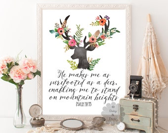 Psalm 18:33 Bible verse Psalms quote Scripture print wall art typography decor office wall art print He makes me as surefooted as a deer