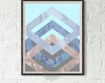 Geometric art printable - Abstract Art, Modern Art Print, Blue Art, Brown Art, Rhombus Art, Marble Print, Digital Art, Modern Printable Art
