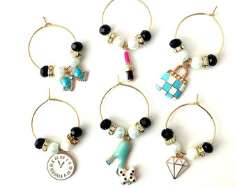 Handbag Wine Charms | Fashion Wine Glass Charms | Wine Lover Gift | Gift for Her | Bachelorette Gifts | Set of 6