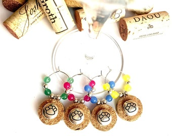 Dog Wine Charms | Wine Glass Charms | Dog Lover Gifts | Paw Print Charms | Host Hostess Gift | Set of 4