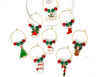 Santa Wine Charms | Wine Glass Charms | Holiday Wine Tags | Gifts For Her | Teacher Gifts | Wine Gifts |  Christmas Charms | Set of 8