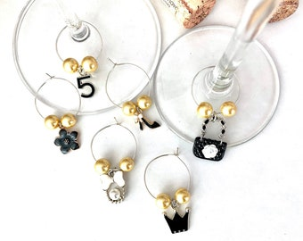 Wine Charms | Couture Wine Charms | Wine Glass Charms | Bridesmaid Gifts | Bachelorette Party Favors | Christmas Gifts | Set of 6