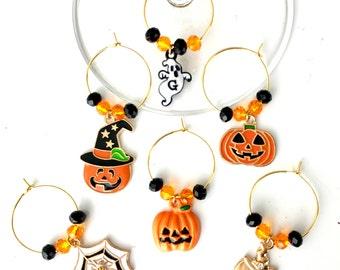 Halloween Wine Charms | Wine Glass Charms |   Pumpkin Wine Charms| Halloween Table Decor | Wine Gift | Set of 6