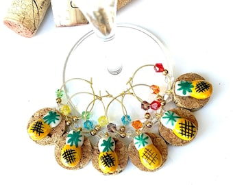 Pineapple Wine Charms | Wine Glass Charms | Hostess Gift | Wine Lover Gift | Hawaii Theme Charms | Set of 6