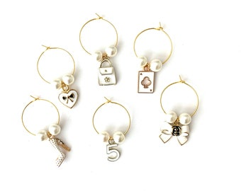 Bridesmaid Gifts | Wine Glass Charms | Fashion Wine Charms | Graduation Gifts | Thank You Gifts | Party Favors | Set of 6