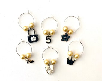Wine Charms   Couture Wine Charms   Wine Glass Charms   Bridesmaid Gifts   Bachelorette Party Favors   Christmas Gifts   Set of 6