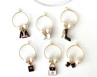 Wine Lover Wine Glass Charms |  Wine Charms |  Fashion Charms | Bridesmaid Gifts |  Designer Theme Party Favors | Set of 6